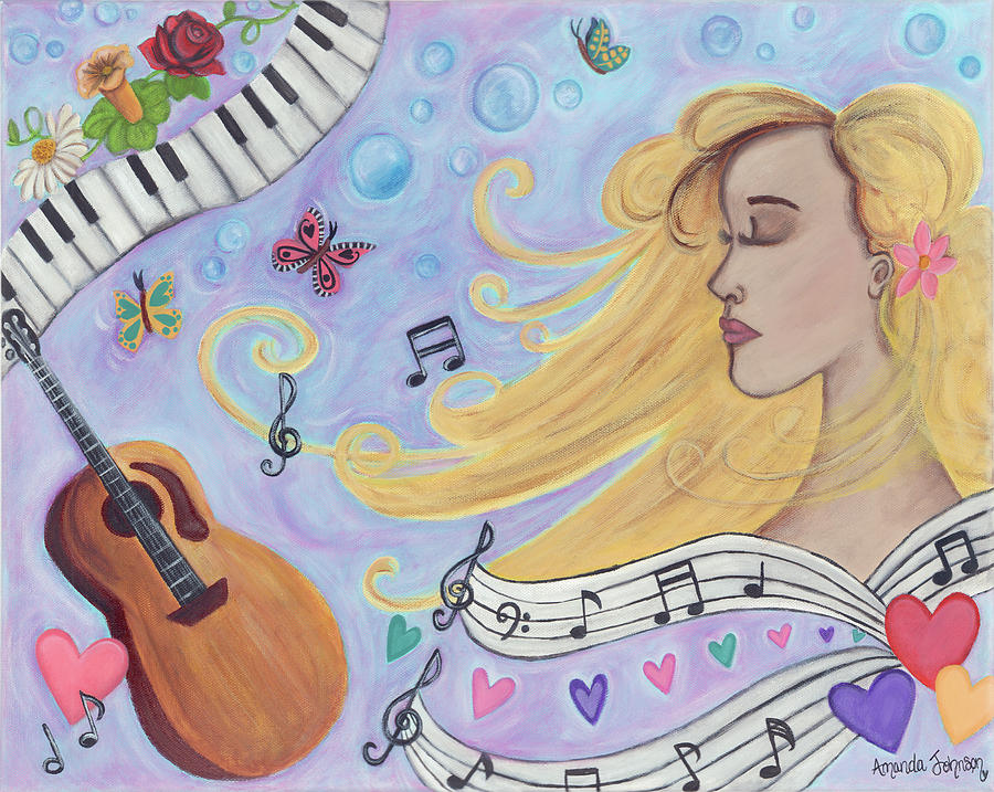 Whimsical Painting - She Dreams In Music by Amanda Johnson