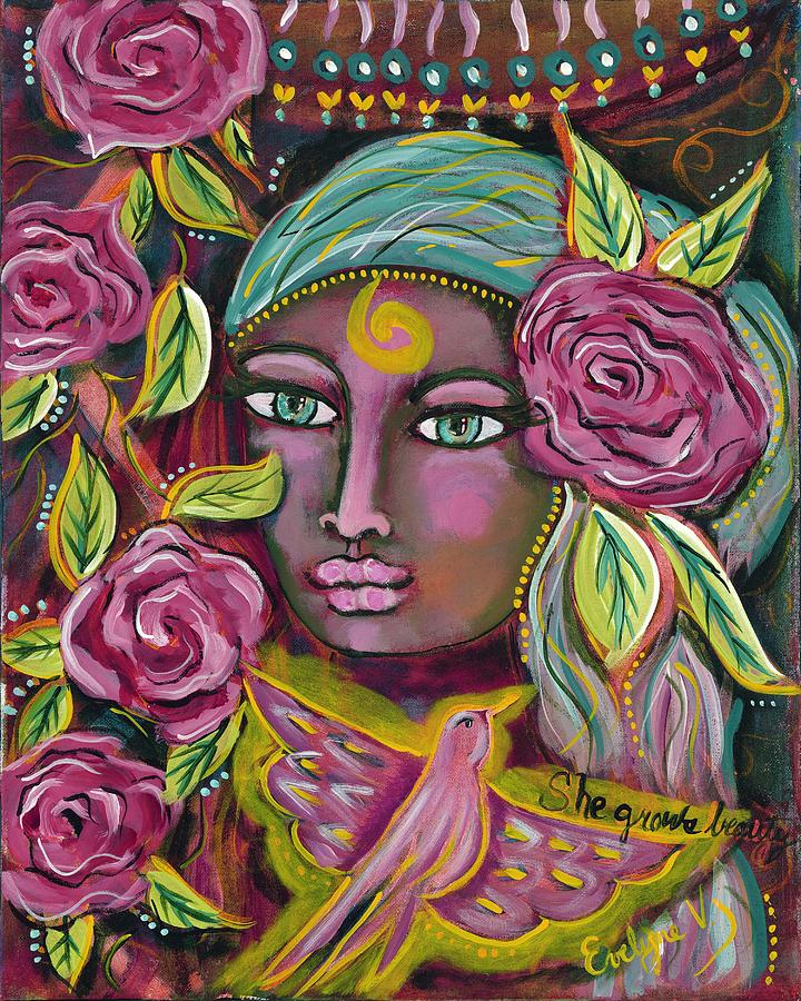 Pink Painting - She Grows Beauty by Evelyne Verret