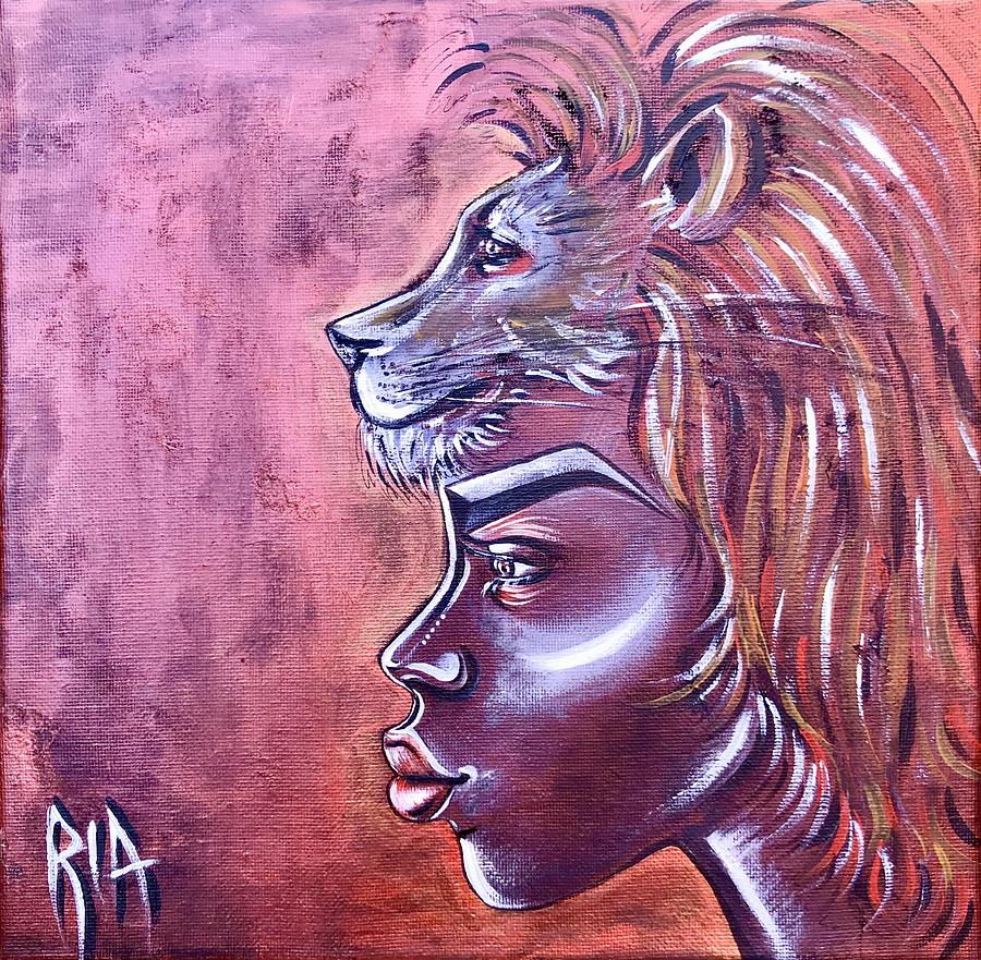 Lion Painting - She Has Goals by Artist RiA