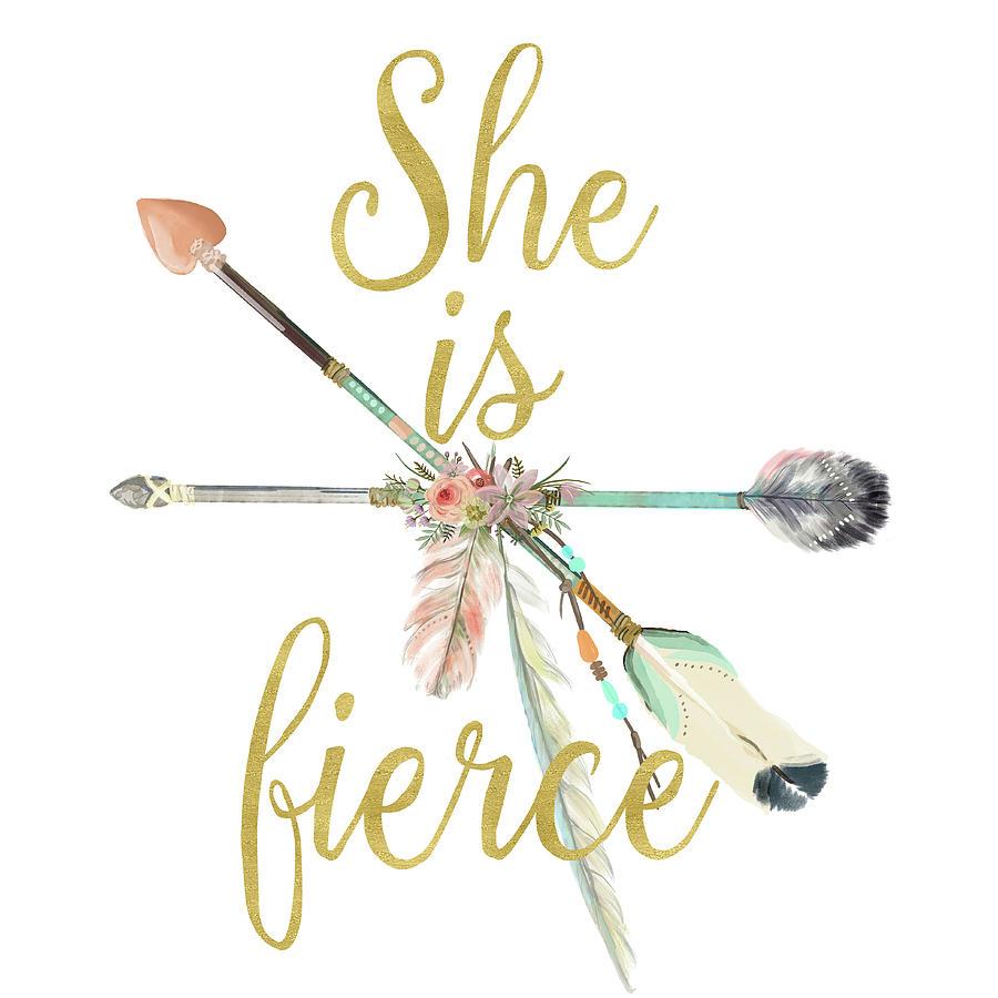 Arrows Digital Art - She is Fierce Boho Tribal Gold Blush Arrow Print by Pink Forest Cafe