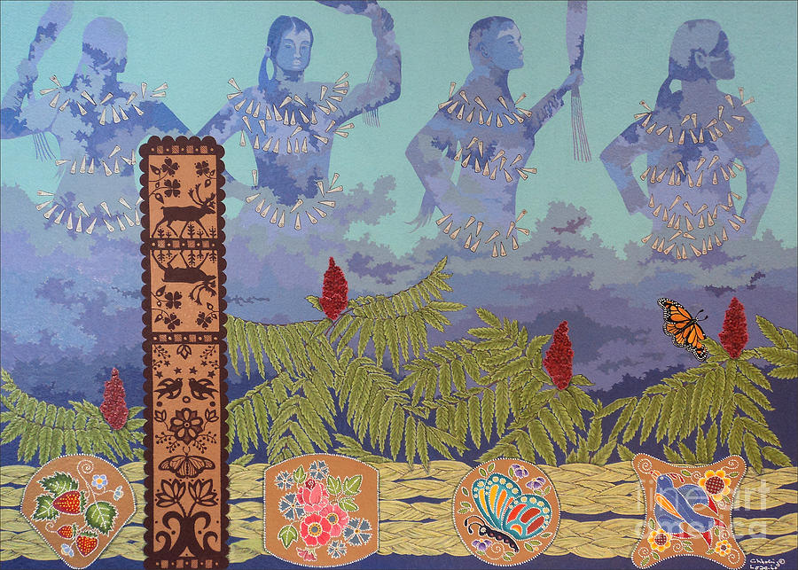 First Nations Painting - She Makes Rain by Chholing Taha