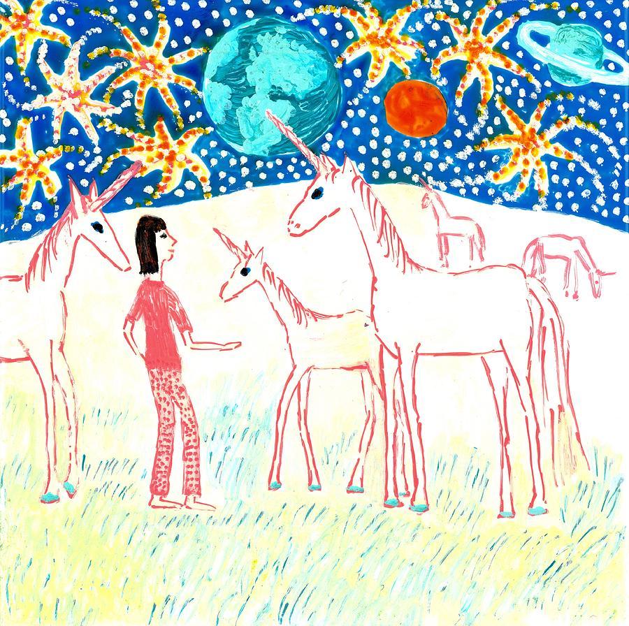Sue Burgess Painting - She Meets The Moon Unicorns by Sushila Burgess