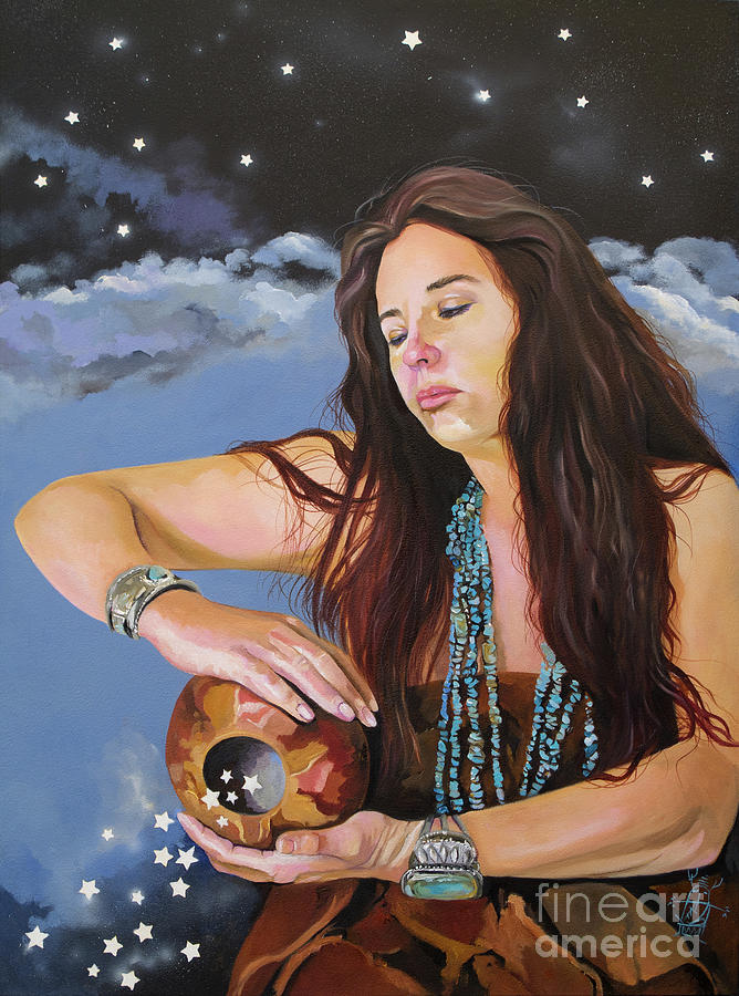 Medicine Woman Painting - She Paints With Stars by J W Baker