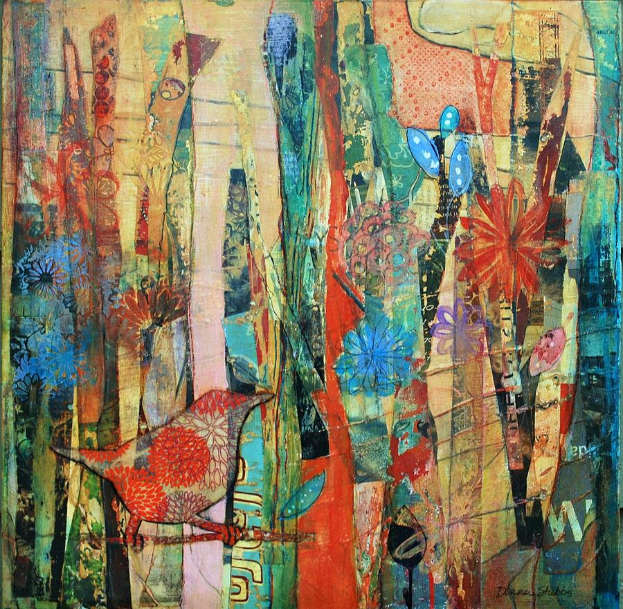 Bird Mixed Media - She Spinned Until Summer Didnt Stop by Donna Stubbs
