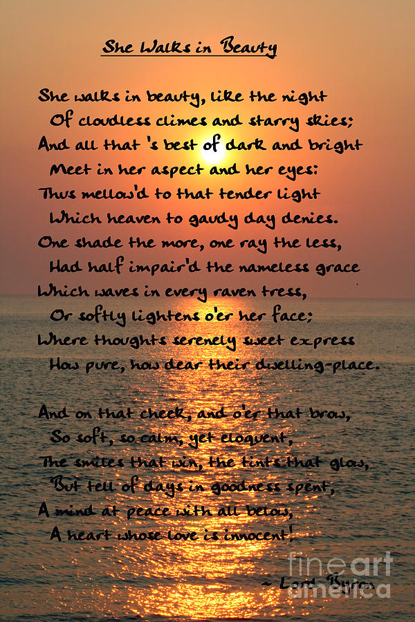 T-Shirts 3dRose Alexis Design Lord Byron George Gordon She Walks in Beauty Like The Night Poetry