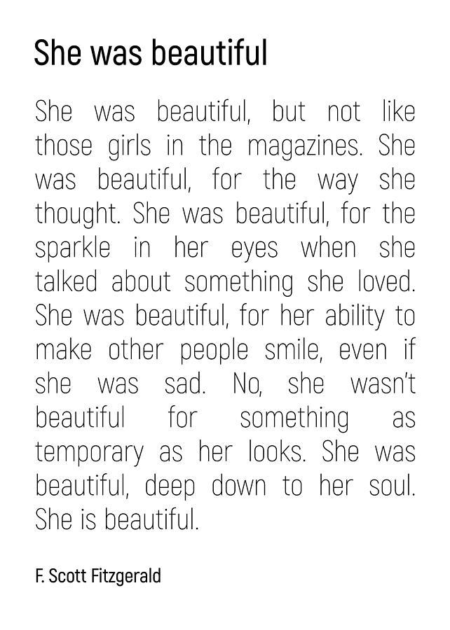 ce3a28ea Minimalist Photograph - She Was Beautiful By F. Scott Fitzgerald 2  #minimalism #poem