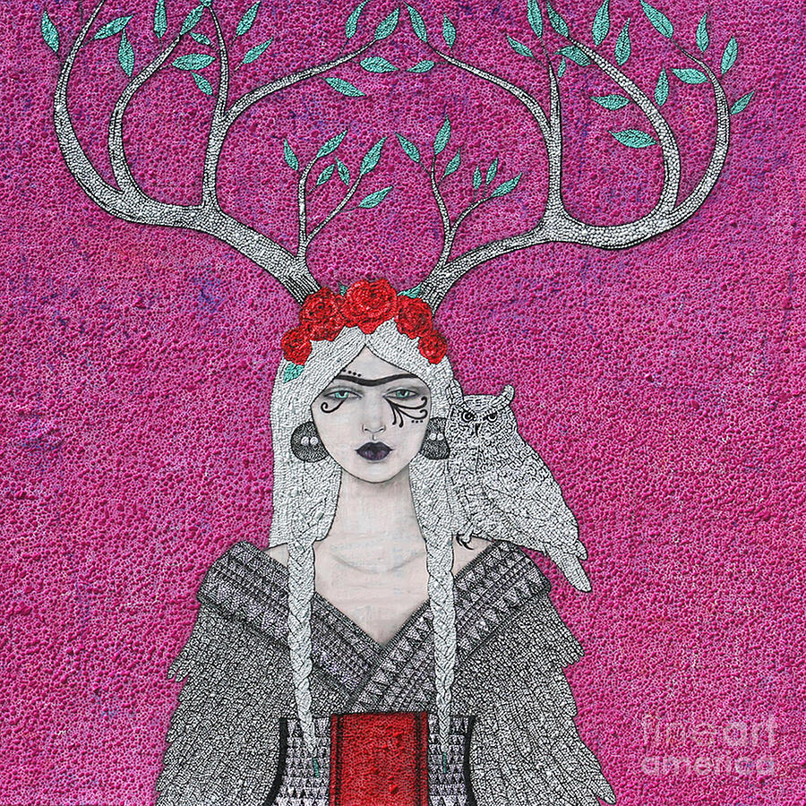 Pink Mixed Media - She Wears The Crown by Natalie Briney
