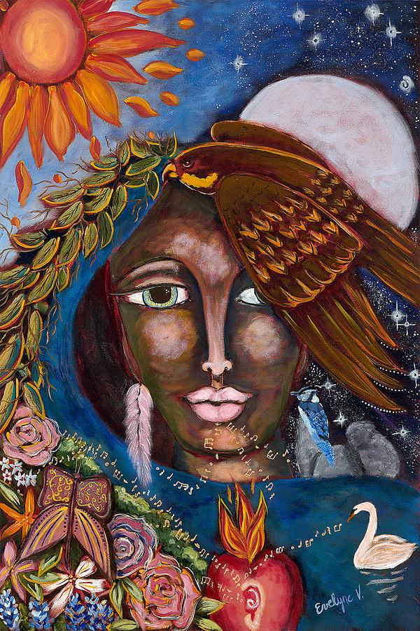 Falcon Painting - She Who Talks Every Languages by Evelyne Verret