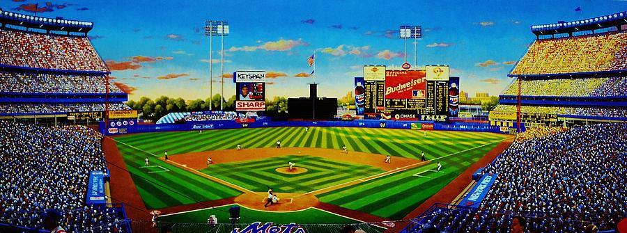 Baseball Painting - Shea Stadium by T Kolendera
