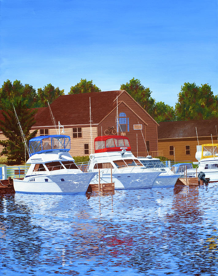 Waterscape Painting - Sheboygan River Marina by Hugh Blanding