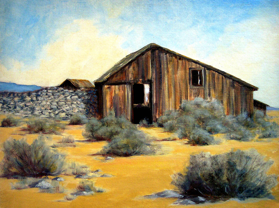 Ghost Town Painting - Shed And Wall by Evelyne Boynton Grierson