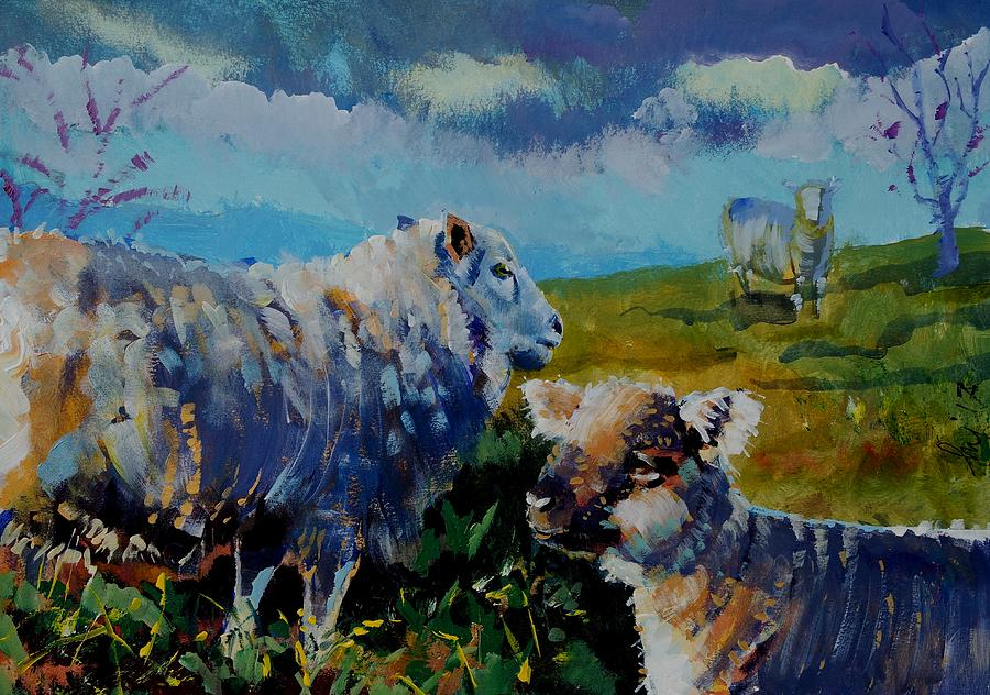 Sheep Drawing - Sheep And Lamb On The Moor by Mike Jory