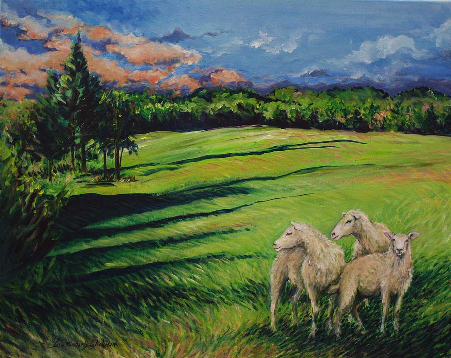 Sheep Painting - Sheep At Dusk by Lisa Kimberly Glickman