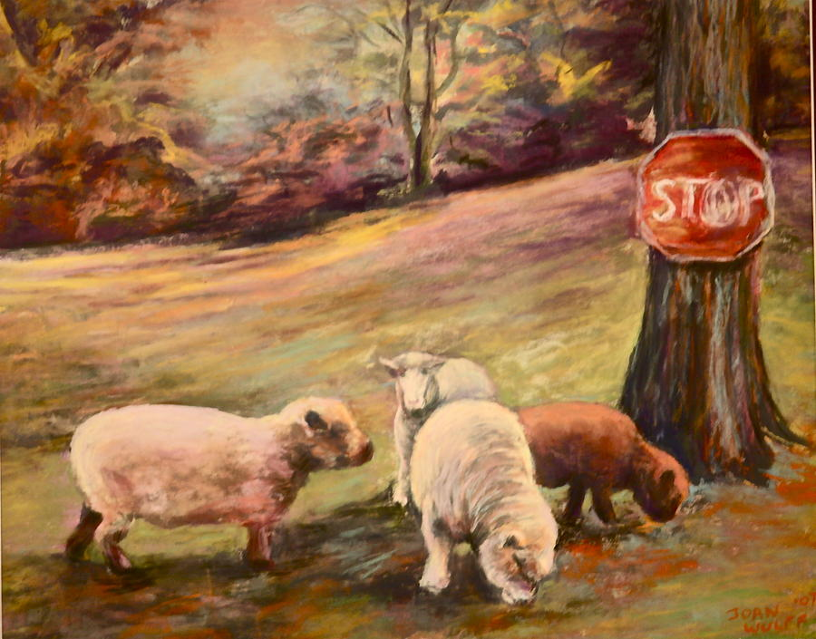 Sheep Pastel - Sheep Grazing by Joan Wulff