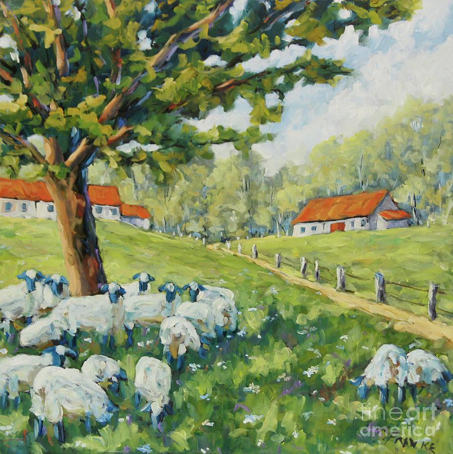 Sheep Huddled under the tree Farm Scene by Richard T Pranke