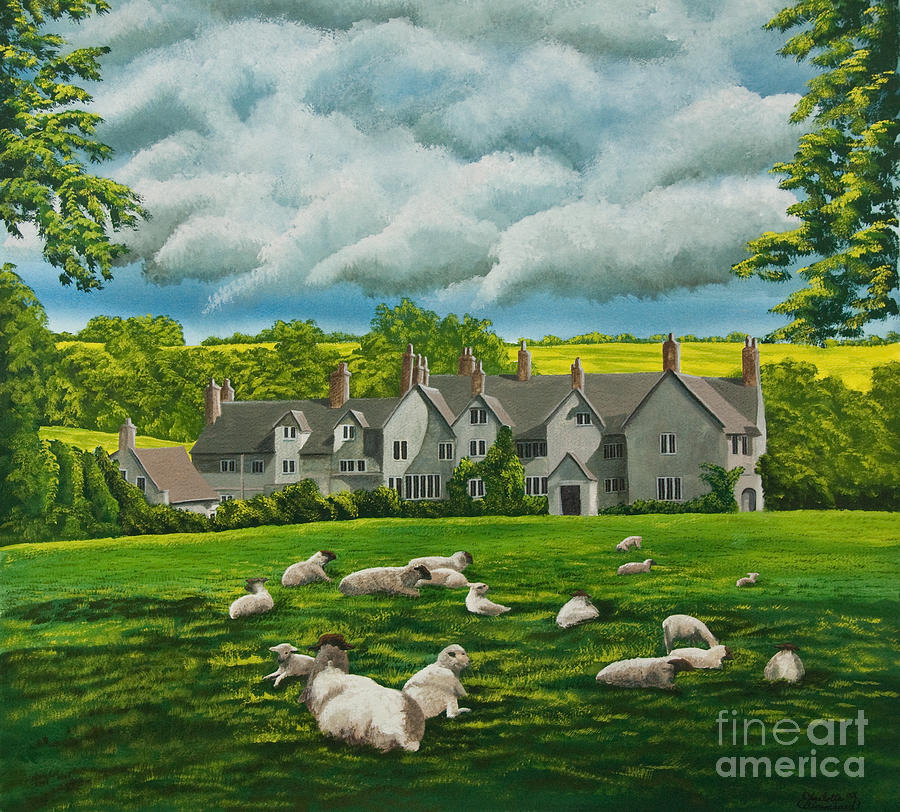English Painting Painting - Sheep In Repose by Charlotte Blanchard
