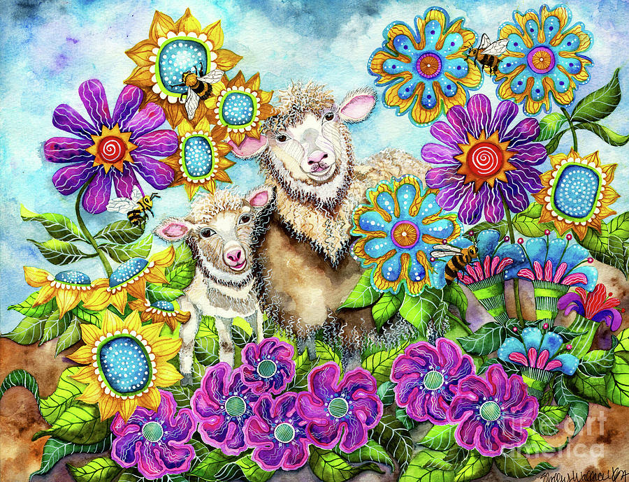 Sheep in the Summer Garden by Shelley Wallace Ylst