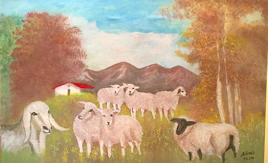 Sheep Painting - Sheep by Mimi Eskenazi