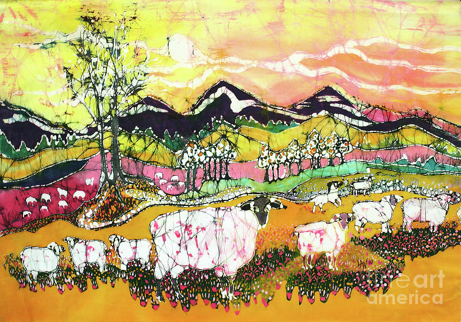 Sheep Tapestry - Textile - Sheep On Sunny Summer Day by Carol Law Conklin