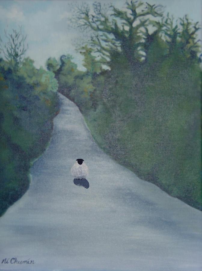 Irish Landscape Painting - Sheep On The Irish Country Road by Elaine Cummins