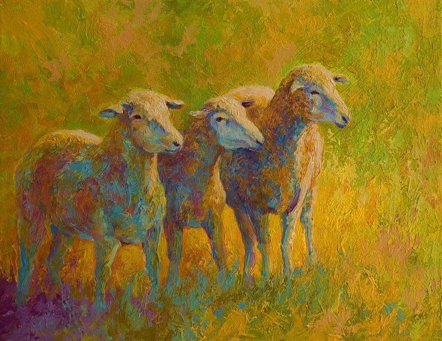 Llama Painting - Sheep Trio by Marion Rose