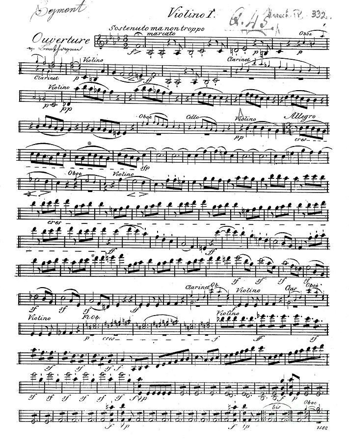 All Music Chords beethoven sheet music : Sheet Music For The Overture To Egmont Drawing by Beethoven