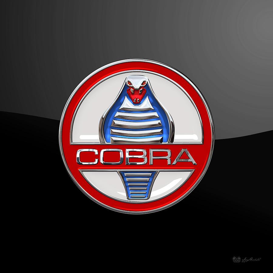 Ford shelby ac cobra digital art shelby ac cobra original 3d badge on black