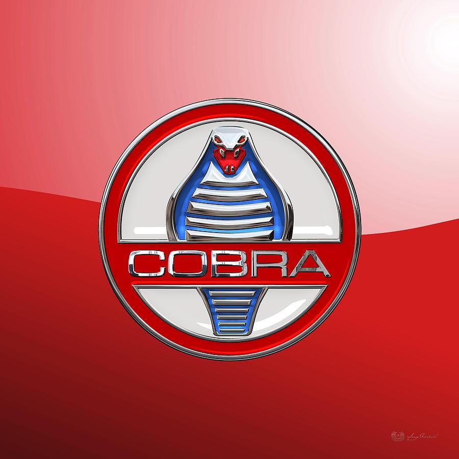 Ford shelby ac cobra digital art shelby ac cobra original 3d badge on red
