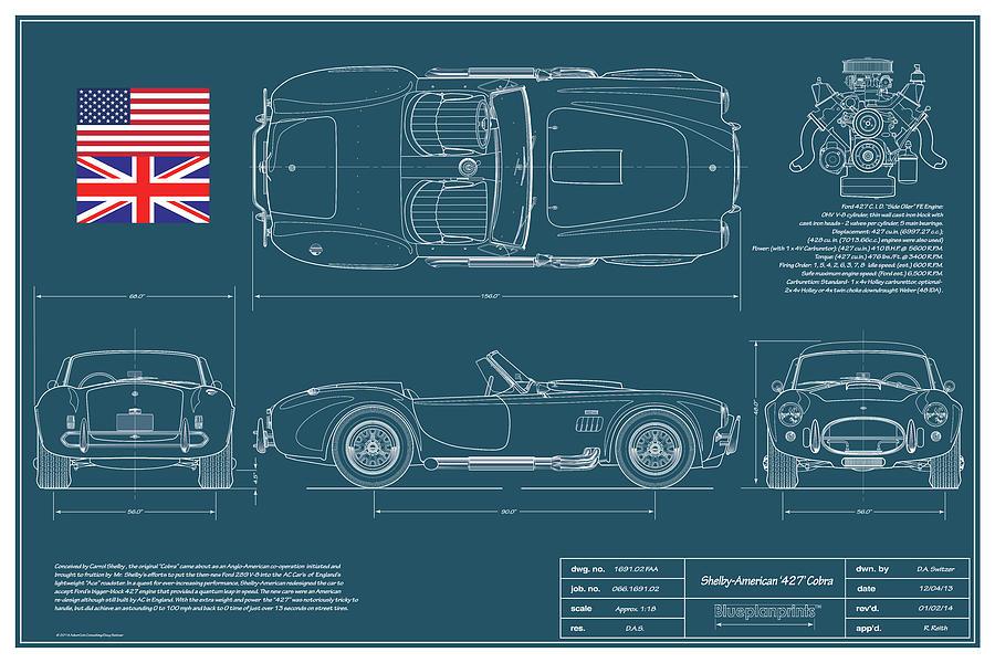 427 Cobra Drawing - Shelby American 427 Cobra Blueplanprint by Douglas Switzer
