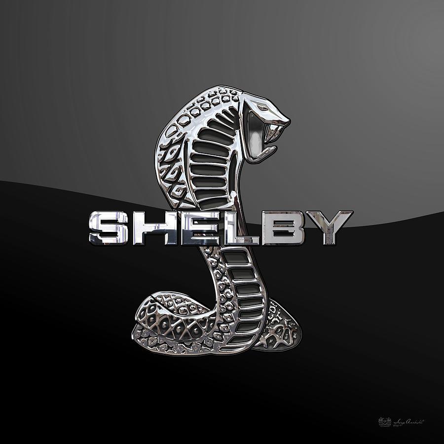 Ford shelby cobra digital art shelby cobra 3d badge on black by serge averbukh