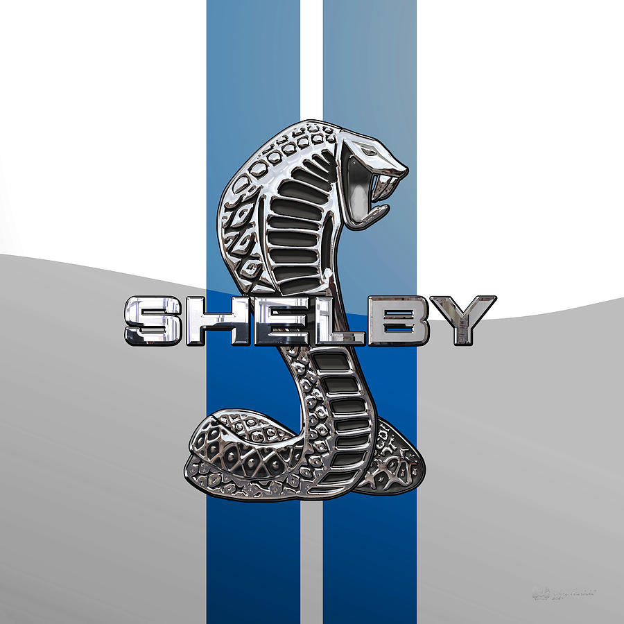 Ford shelby cobra digital art shelby cobra 3d badge on blue and white by