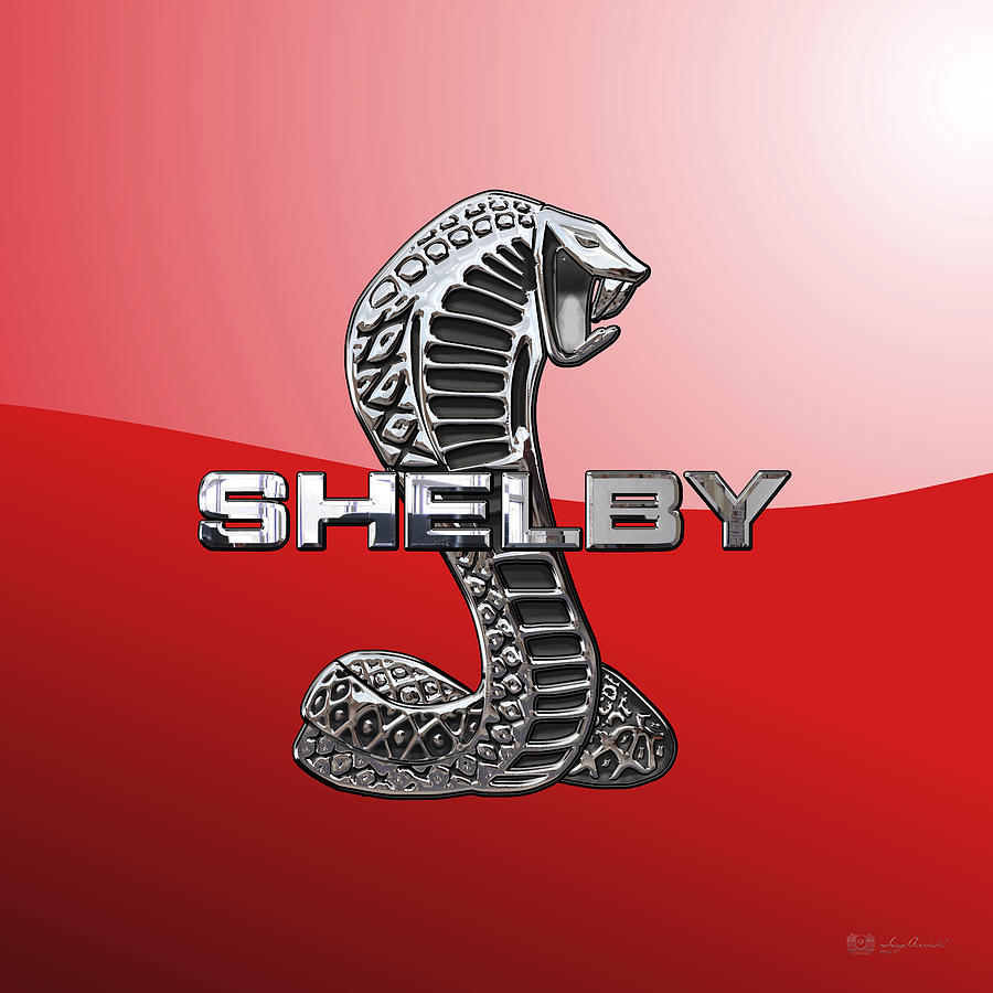 Ford shelby cobra digital art shelby cobra 3d badge on red by serge averbukh