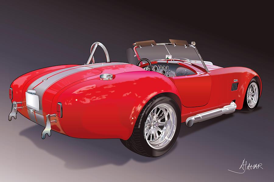Cobra Drawing - Shelby Cobra by Alain Jamar