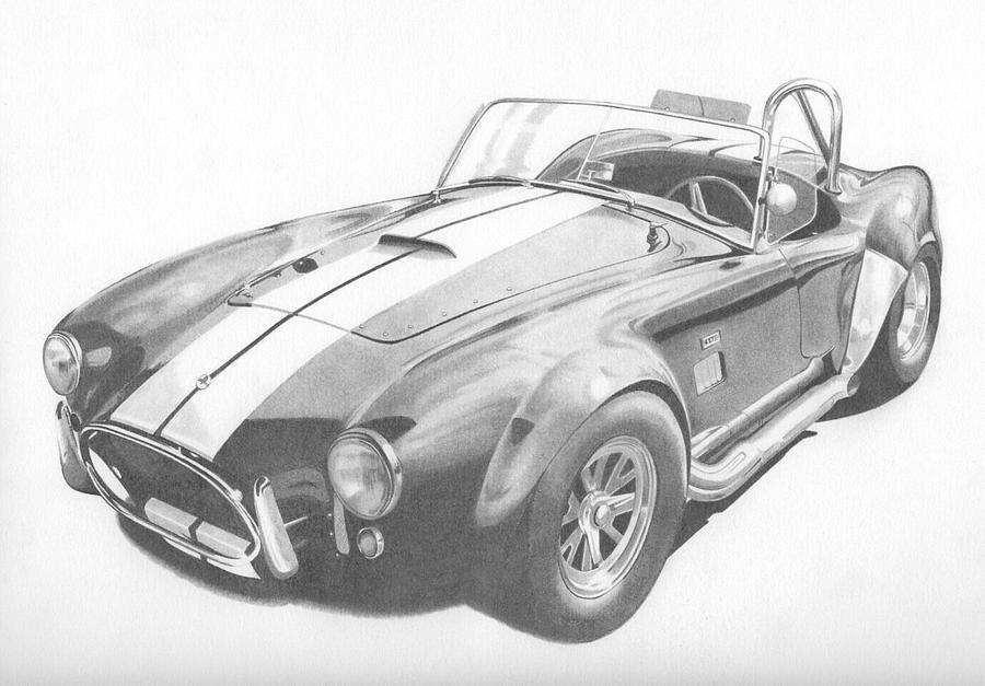 Cars Drawing - Shelby Cobra by Kane Leinonen
