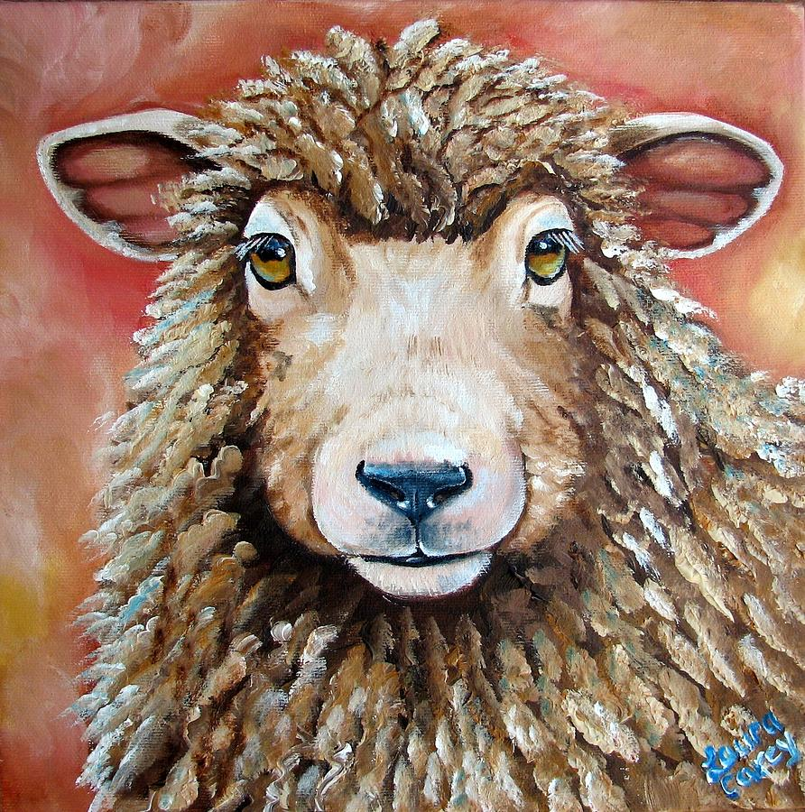 Sheep Painting - Shelby by Laura Carey