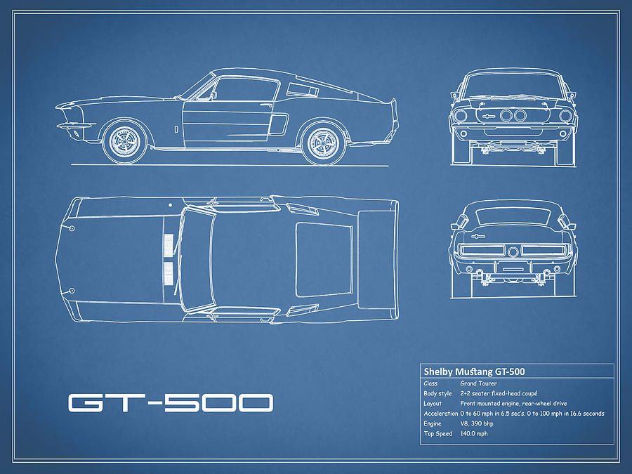 Shelby mustang gt500 blueprint photograph by mark rogan ford mustang photograph shelby mustang gt500 blueprint by mark rogan malvernweather Image collections