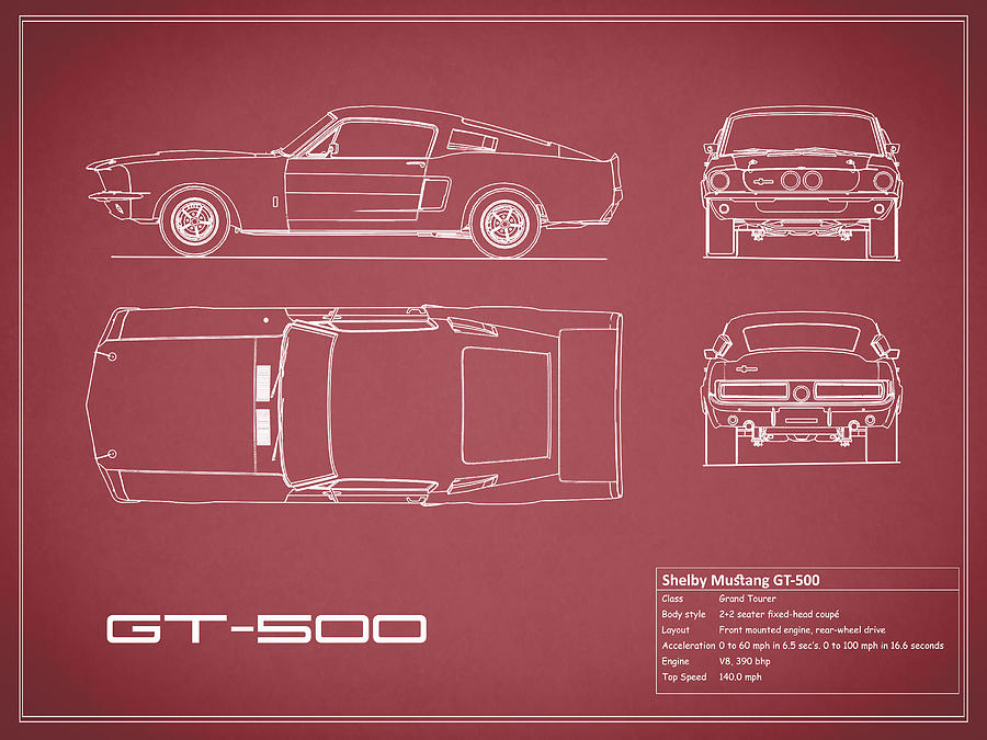 Shelby mustang gt500 blueprint red photograph by mark rogan ford mustang photograph shelby mustang gt500 blueprint red by mark rogan malvernweather Image collections