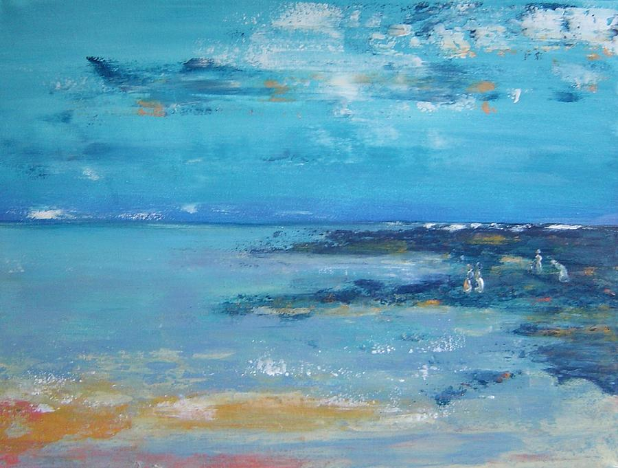 Seascape Painting - Shell Collectors by Bridgette  Allan