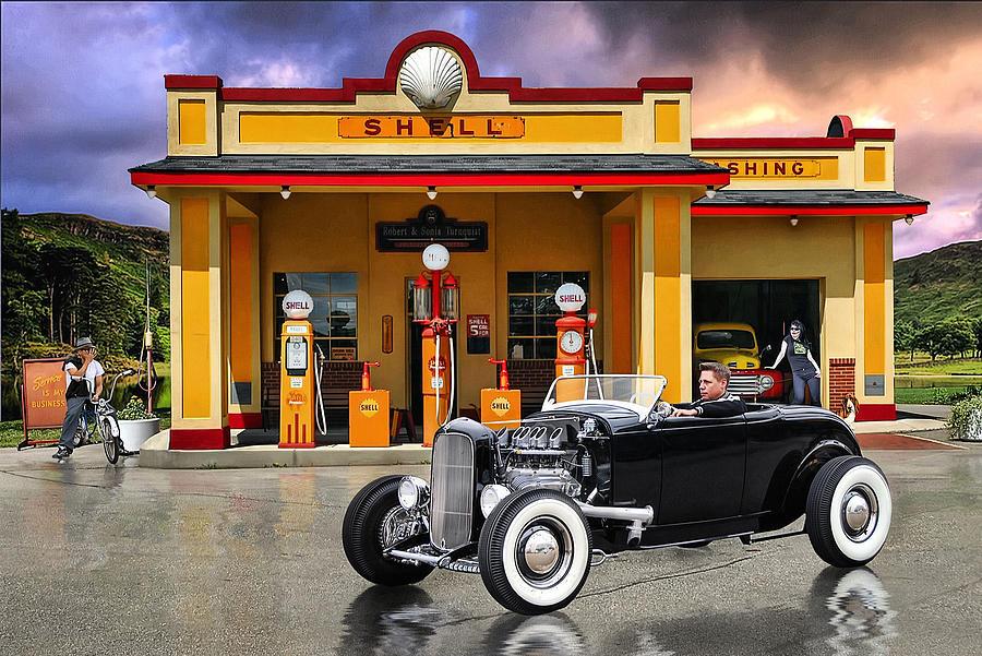 Hot Rod Digital Art - Shell Station .... by Rat Rod Studios