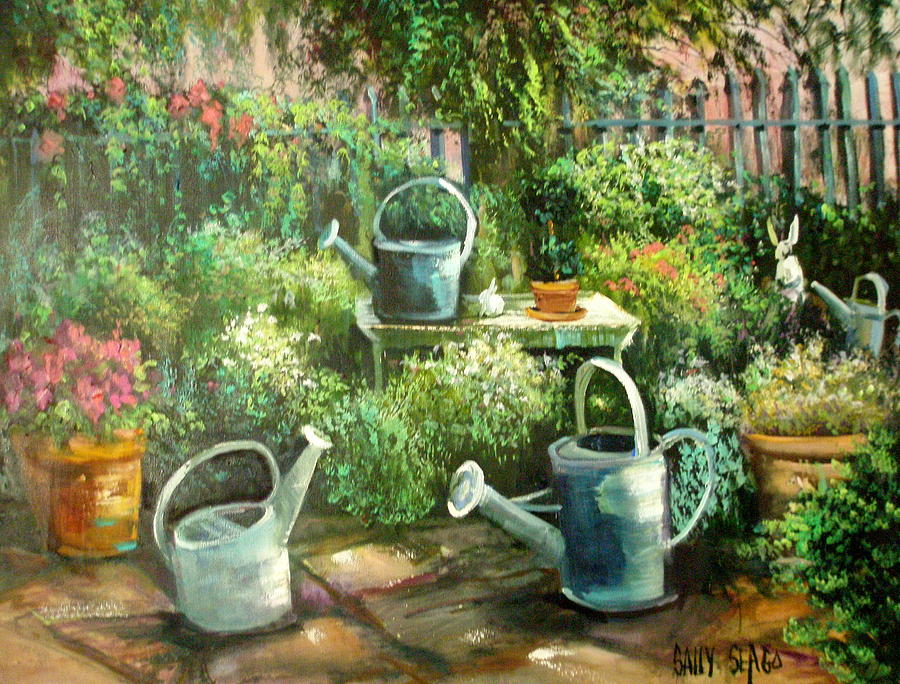 Garden Painting - Shelleys Garden by Sally Seago