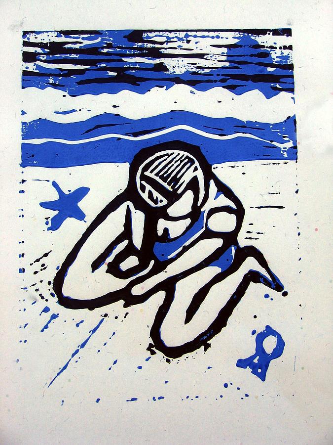 Beach Mixed Media - Shellie - Blue by Adam Kissel