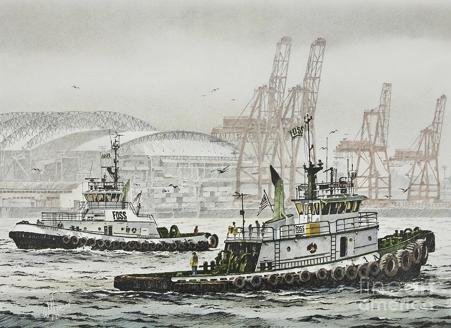 Tugs Painting - SHELLY and WEDELL FOSS by James Williamson