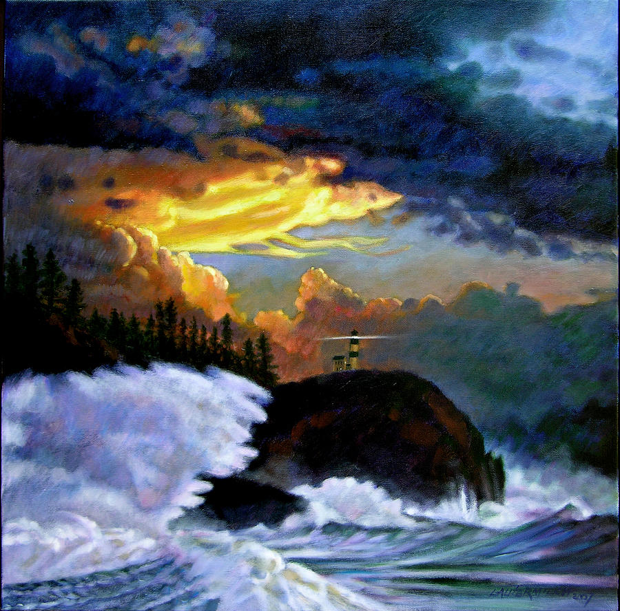 Ocean Painting - Shelter From the Storm by John Lautermilch