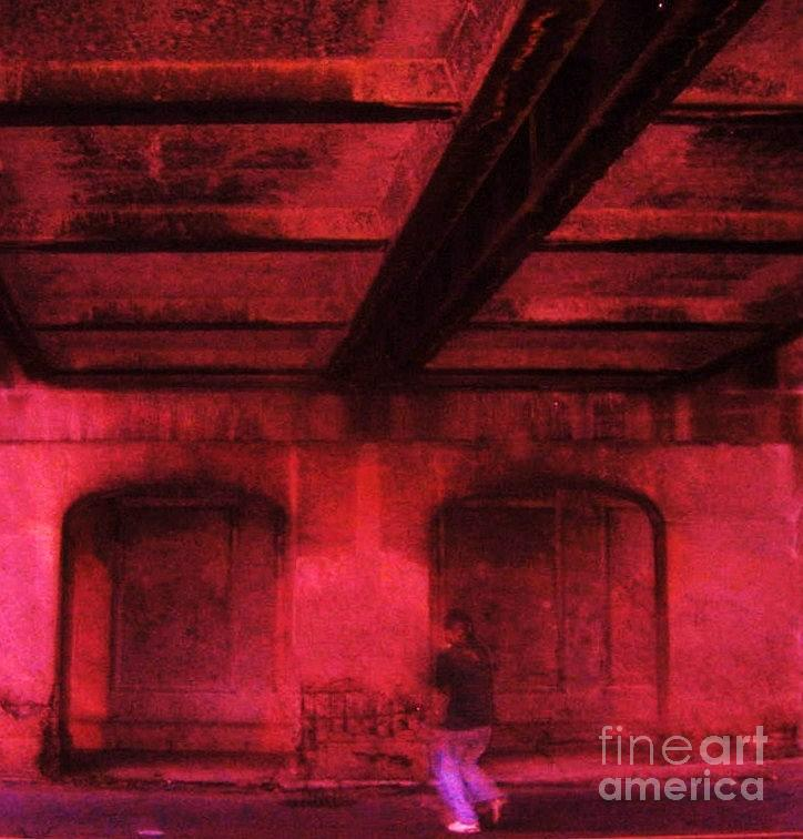 Red Photograph - Shelter In The Tunnel by Reb Frost