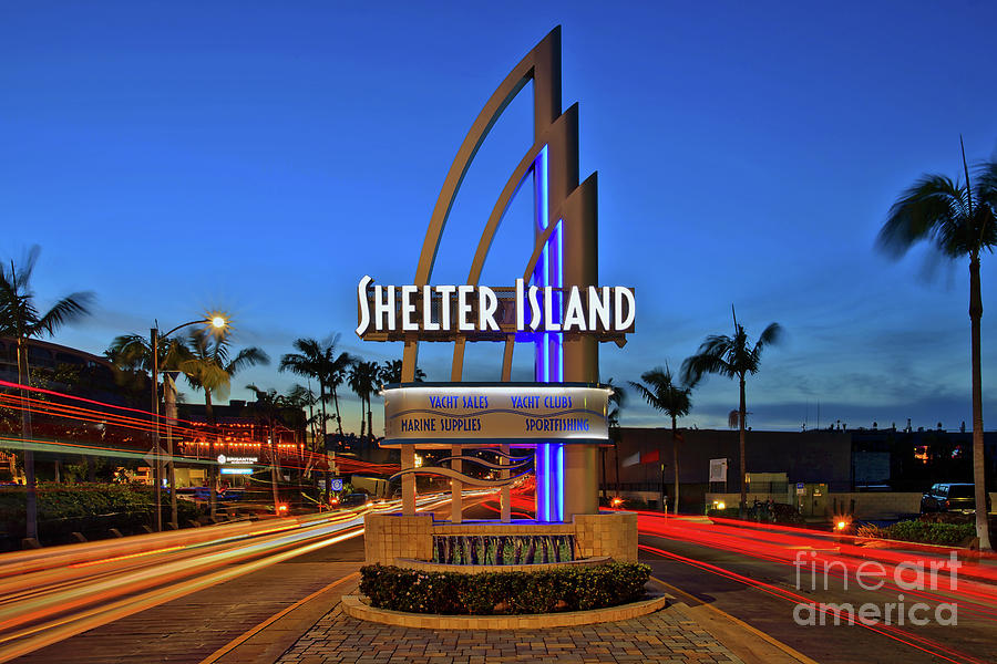 Shelter Island Photograph - Shelter Island Sign With Traffic Light Trails by Sam Antonio Photography