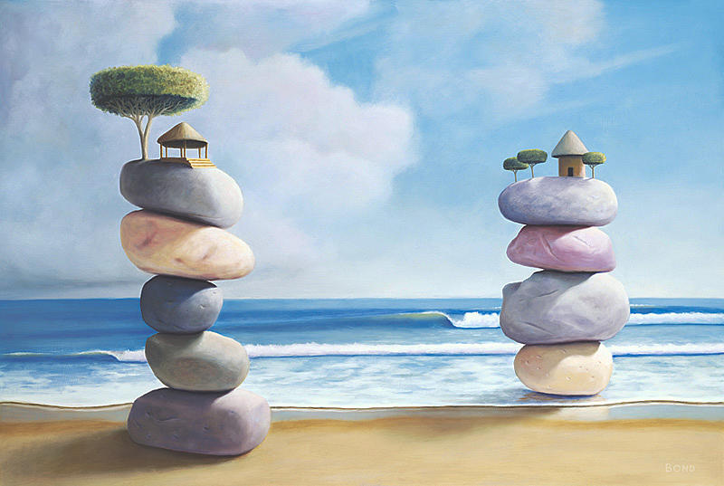 Stacked Stones Painting - Shelter by Paul Bond
