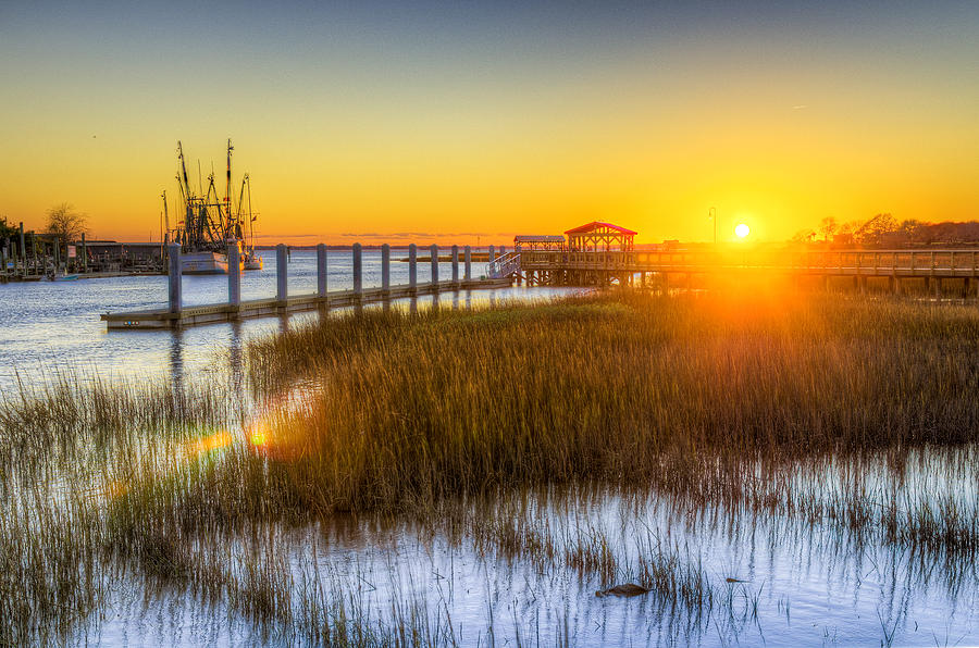 South Photograph - Shem Creek Sunset - Charleston Sc  by Drew Castelhano