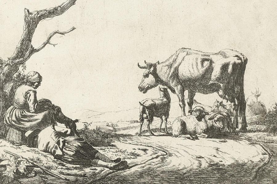 Shepherd And Shepherdess With Cattle Drawing By Adriaen Van De