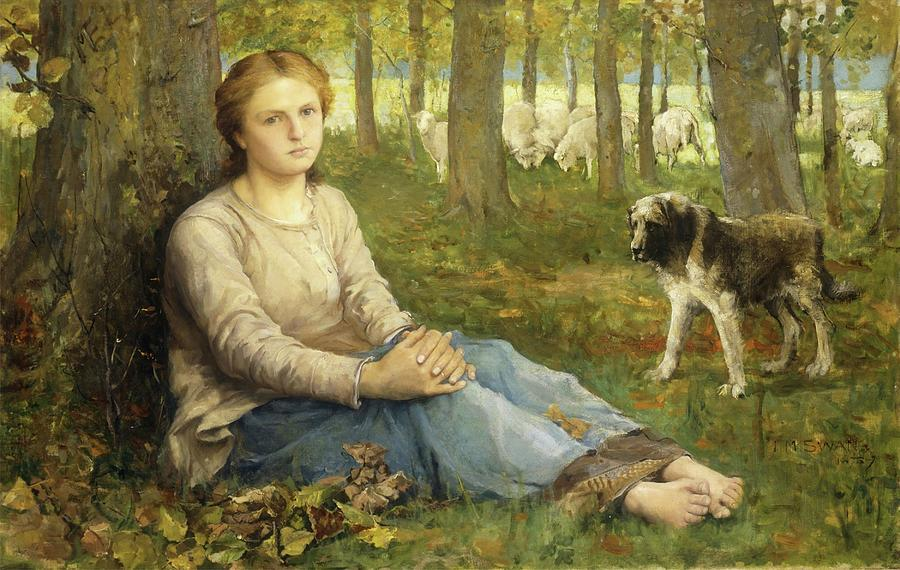 Shepherdess And Her Flock Painting