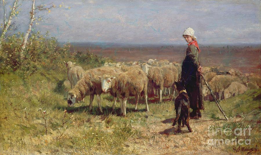 Shepherdess Painting - Shepherdess by Anton Mauve
